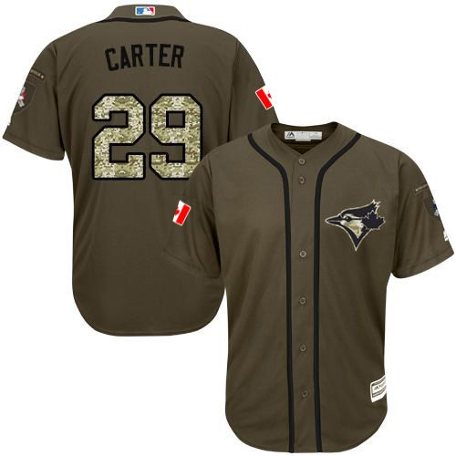Blue Jays #29 Joe Carter Green Salute to Service Stitched MLB Jersey