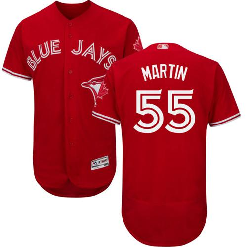 Blue Jays #55 Russell Martin Red Flexbase Authentic Collection Canada Day Stitched MLB Jersey