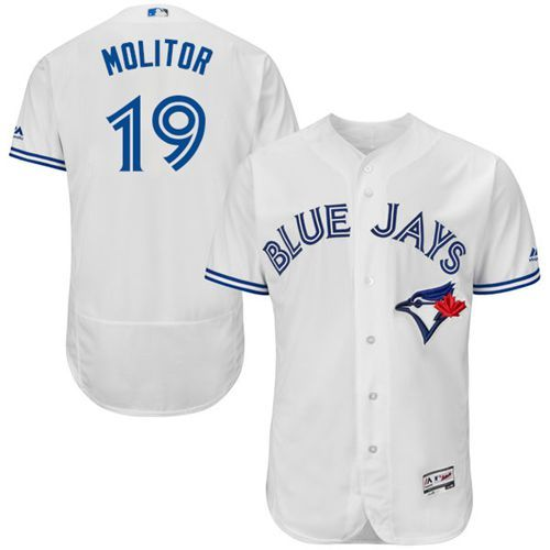 Blue Jays #19 Paul Molitor White Flexbase Authentic Collection Stitched MLB Jersey