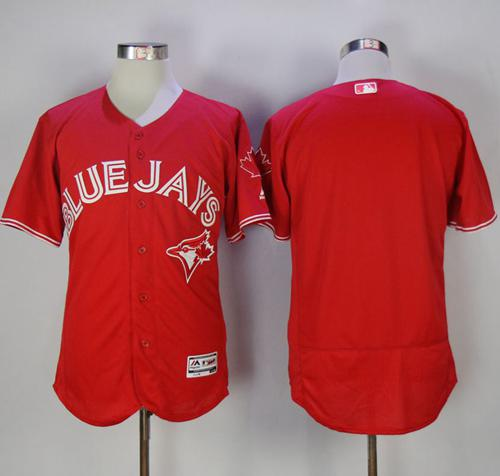 Blue Jays Blank Red Flexbase Authentic Collection Canada Day Stitched MLB Jersey
