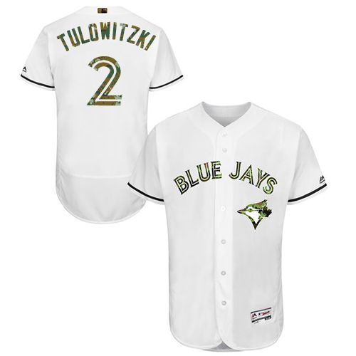 Blue Jays #2 Troy Tulowitzki White Flexbase Authentic Collection Memorial Day Stitched MLB Jersey