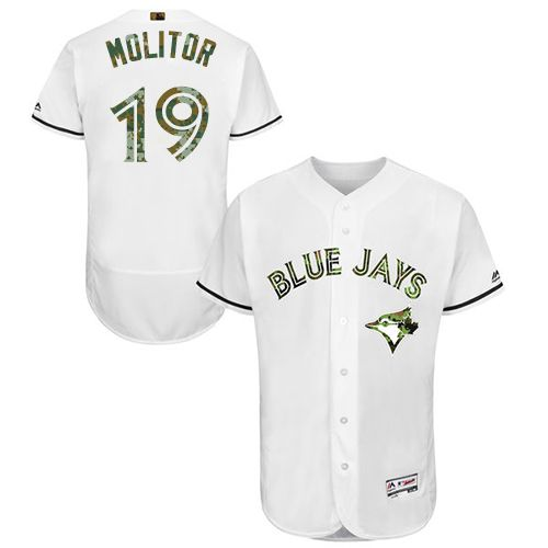 Blue Jays #19 Paul Molitor White Flexbase Authentic Collection Memorial Day Stitched MLB Jersey