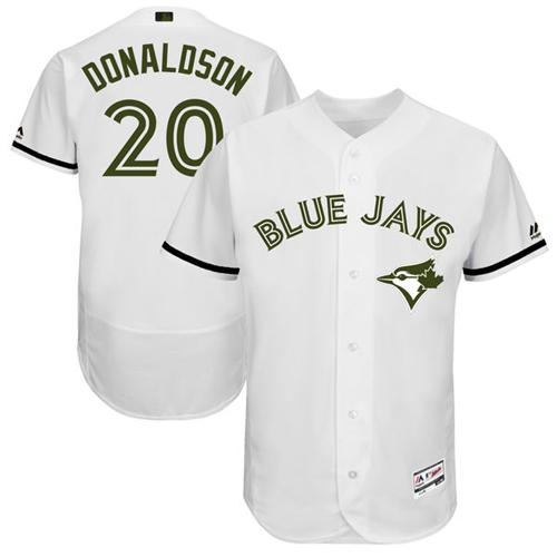 Blue Jays #20 Josh Donaldson White Flexbase Authentic Collection Memorial Day Stitched MLB Jersey