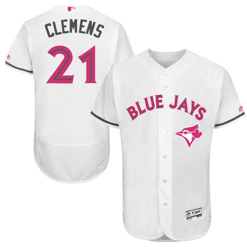 Blue Jays #21 Roger Clemens White Flexbase Authentic Collection Mother's Day Stitched MLB Jersey