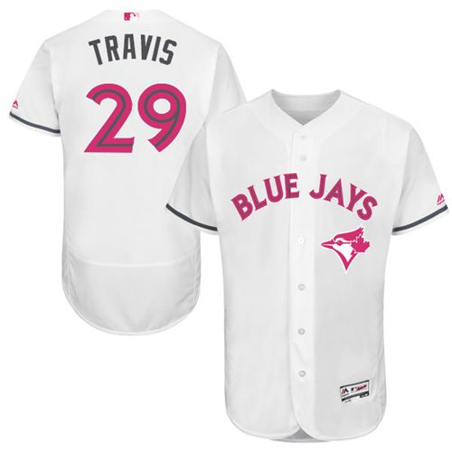 Blue Jays #29 Devon Travis White Flexbase Authentic Collection Mother's Day Stitched MLB Jersey