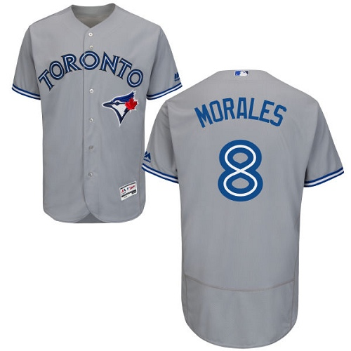 Blue Jays #8 Kendrys Morales Grey Flexbase Authentic Collection Stitched MLB Jersey