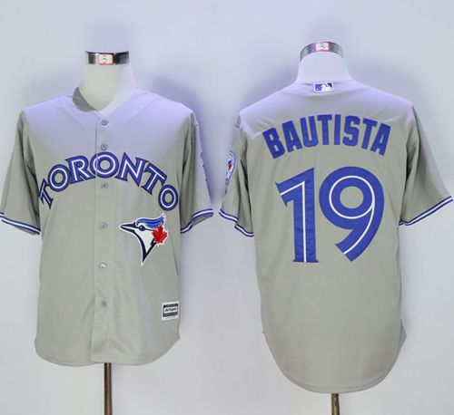 Blue Jays #19 Jose Bautista Grey New Cool Base 40th Anniversary Stitched MLB Jersey