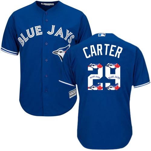 Blue Jays #29 Joe Carter Blue Team Logo Fashion Stitched MLB Jersey
