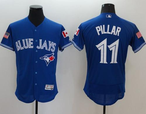 Blue Jays #11 Kevin Pillar Blue Fashion Stars & Stripes Flexbase Authentic Stitched MLB Jersey