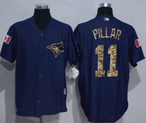 Blue Jays #11 Kevin Pillar Denim Blue Salute to Service Stitched MLB Jersey