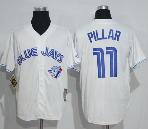 Blue Jays #11 Kevin Pillar White Cooperstown Throwback Stitched MLB Jersey