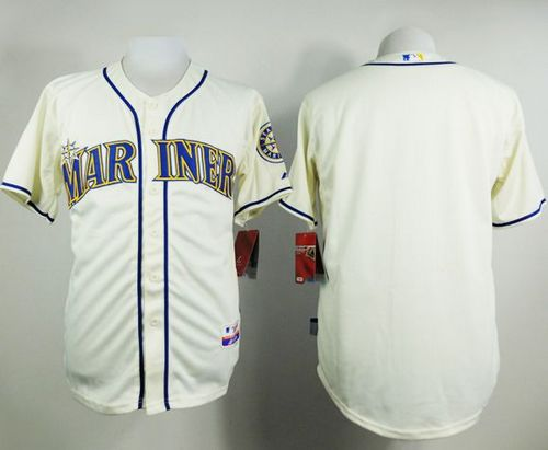 Mariners Blank Cream Alternate Cool Base Stitched MLB Jersey