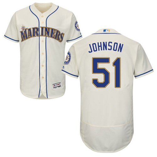Mariners #51 Randy Johnson Cream Flexbase Authentic Collection Stitched MLB Jersey