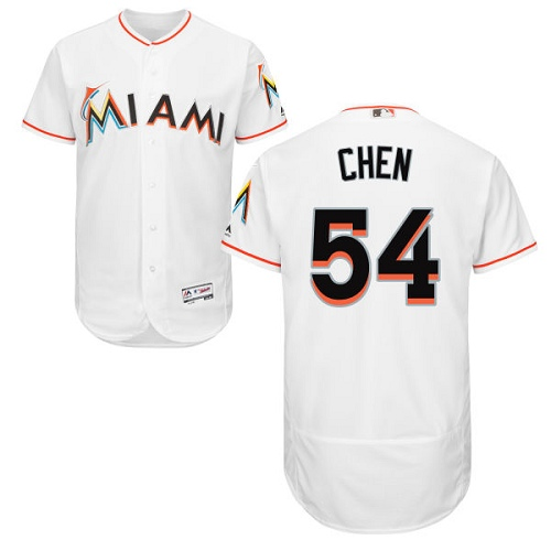 marlins #54 Wei-Yin Chen White Flexbase Authentic Collection Stitched MLB Jersey