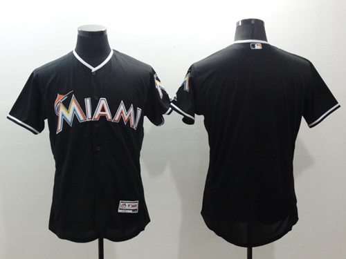 marlins Blank Black Flexbase Authentic Collection Stitched MLB Jersey