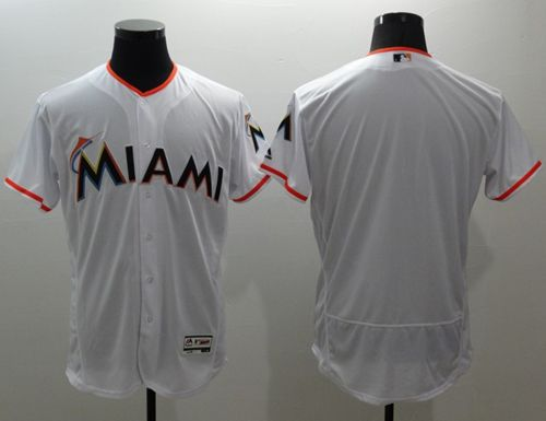 marlins Blank White Flexbase Authentic Collection Stitched MLB Jersey