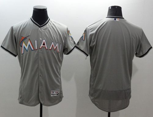 marlins Blank Grey Flexbase Authentic Collection Stitched MLB Jersey