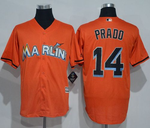 marlins #14 Martin Prado Orange New Cool Base Stitched MLB Jersey