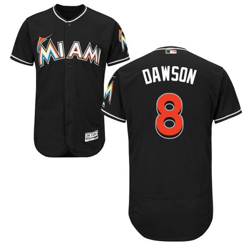 marlins #8 Andre Dawson Black Flexbase Authentic Collection Stitched MLB Jersey