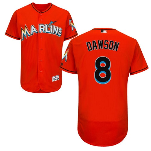 marlins #8 Andre Dawson Orange Flexbase Authentic Collection Stitched MLB Jersey