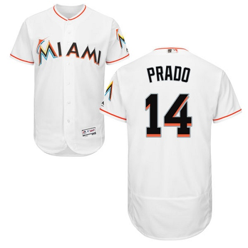 marlins #14 Martin Prado White Flexbase Authentic Collection Stitched MLB Jersey
