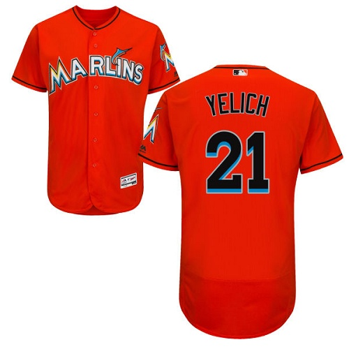 marlins #21 Christian Yelich Orange Flexbase Authentic Collection Stitched MLB Jersey