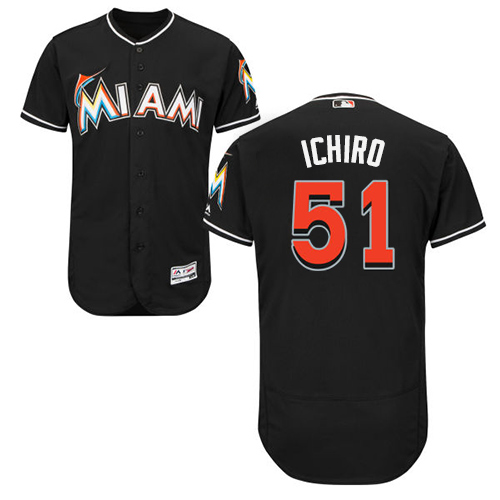 marlins #51 Ichiro Suzuki Black Flexbase Authentic Collection Stitched MLB Jersey
