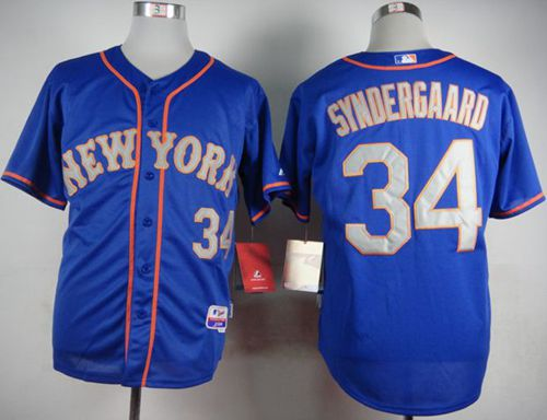 Mets #34 Noah Syndergaard Blue(Grey NO.) Alternate Road Cool Base Stitched MLB Jersey