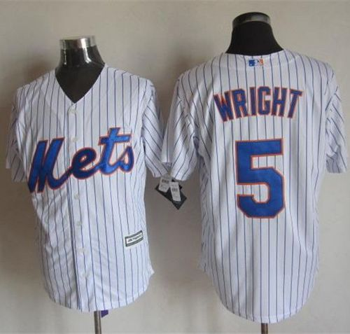 Mets #5 David Wright White(Blue Strip) New Cool Base Stitched MLB Jersey