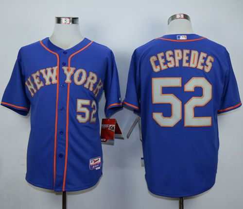 Mets #52 Yoenis Cespedes Blue(Grey NO.) Alternate Road Cool Base Stitched MLB Jersey