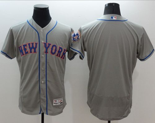 Mets Blank Grey Flexbase Authentic Collection Stitched MLB Jersey