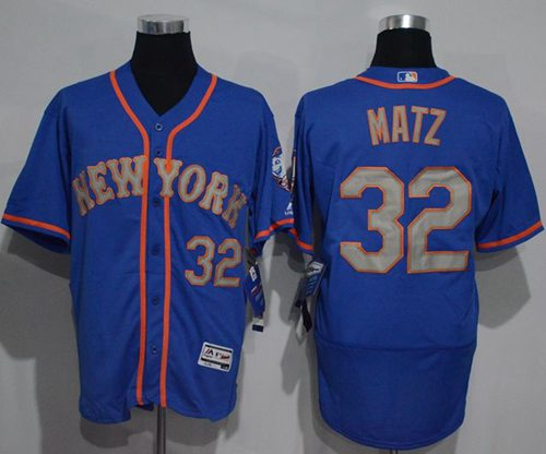 Mets #32 Steven Matz Blue(Grey NO.) Flexbase Authentic Collection Stitched MLB Jersey