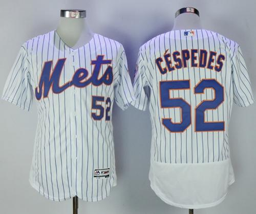 Mets #52 Yoenis Cespedes White(Blue Strip) Flexbase Authentic Collection Stitched MLB Jersey