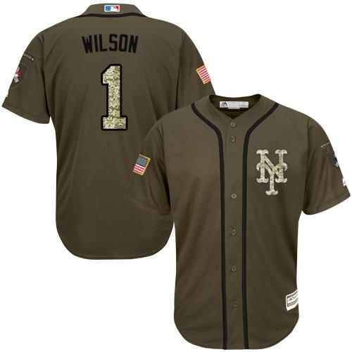 Mets #1 Mookie Wilson Green Salute to Service Stitched MLB Jersey