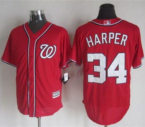 Nationals #34 Bryce Harper Red New Cool Base Stitched MLB Jersey