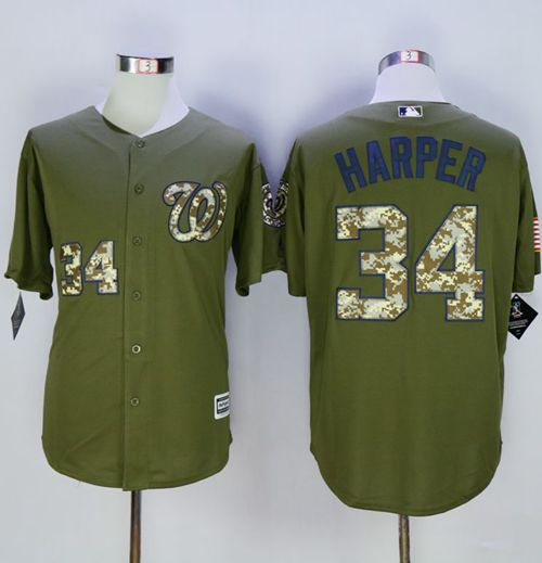 Nationals #34 Bryce Harper Green Camo New Cool Base Stitched MLB Jersey