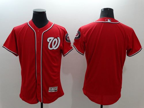 Nationals Blank Red Flexbase Authentic Collection Stitched MLB Jersey