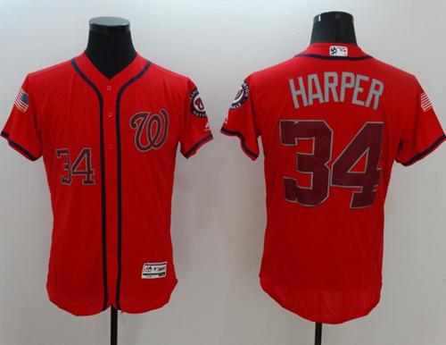 Nationals #34 Bryce Harper Red Fashion Stars & Stripes Flexbase Authentic Stitched MLB Jersey