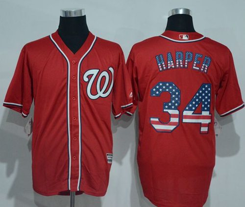 Nationals #34 Bryce Harper Red USA Flag Fashion Stitched MLB Jersey