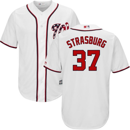 Nationals #37 Stephen Strasburg White New Cool Base Stitched MLB Jersey