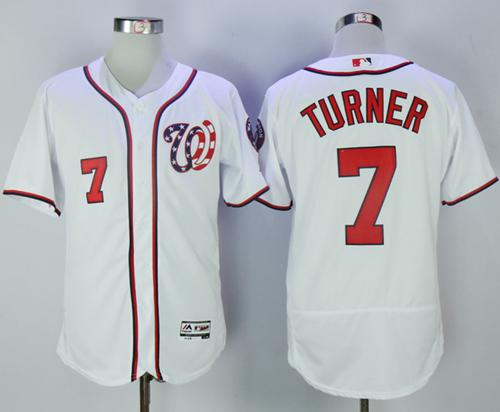 Nationals #7 Trea Turner White Flexbase Authentic Collection Stitched MLB Jersey