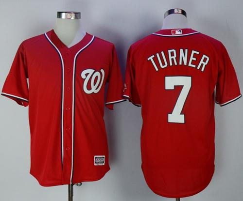 Nationals #7 Trea Turner Red New Cool Base Stitched MLB Jersey
