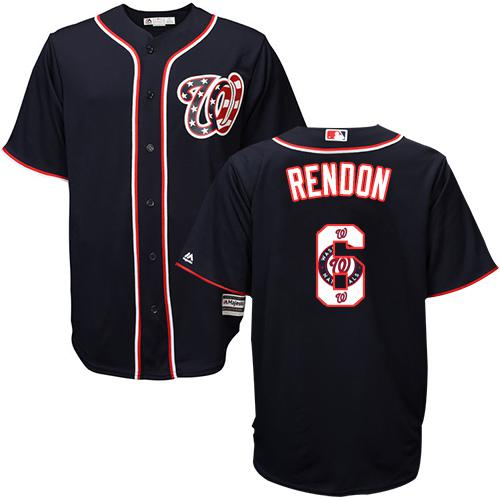 Nationals #6 Anthony Rendon Navy Blue Team Logo Fashion Stitched MLB Jersey
