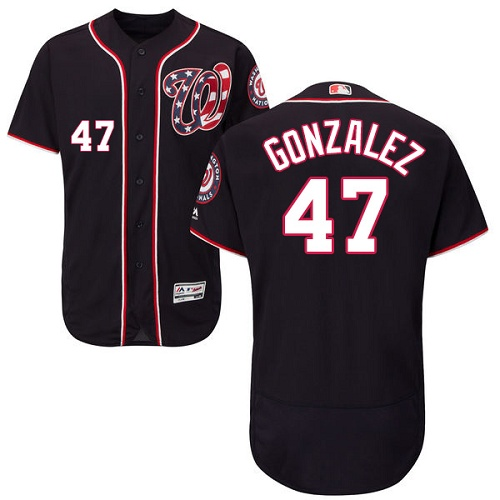 Nationals #47 Gio Gonzalez Navy Blue Flexbase Authentic Collection Stitched MLB Jersey
