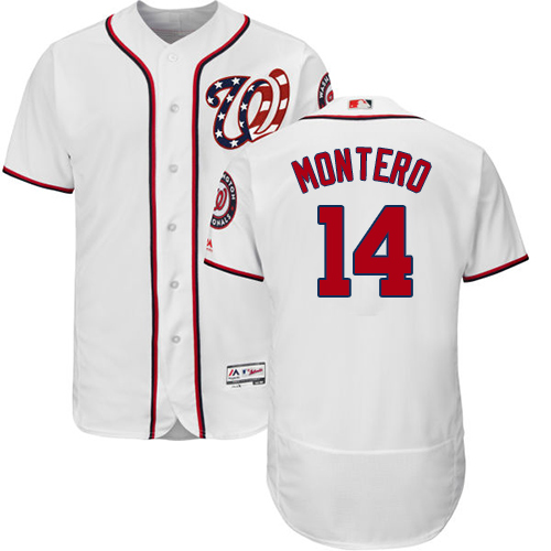 Nationals #14 Miguel Montero White Flexbase Authentic Collection Stitched MLB Jersey