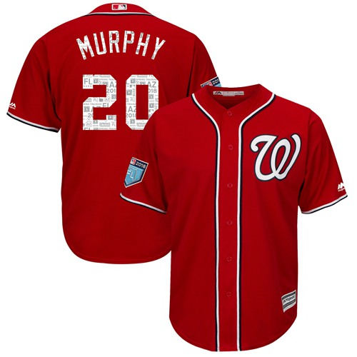 Nationals #20 Daniel Murphy Red 2018 Spring Training Cool Base Stitched MLB Jersey