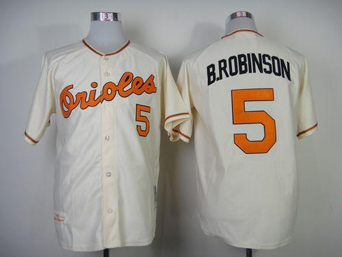Mitchell And Ness 1989 Orioles #5 Brooks Robinson Cream Throwback Stitched MLB Jersey