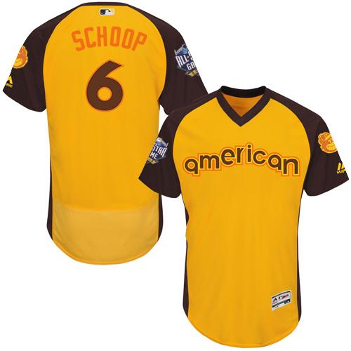 Orioles #6 Jonathan Schoop Gold Flexbase Authentic Collection 2016 All-Star American League Stitched MLB Jersey