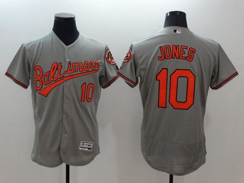 Orioles #10 Adam Jones Grey Flexbase Authentic Collection Stitched MLB Jersey