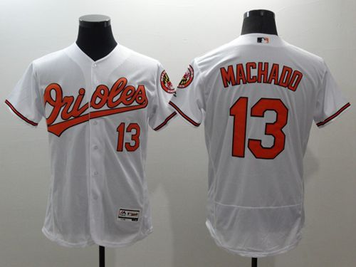 Orioles #13 Manny Machado White Flexbase Authentic Collection Stitched MLB Jersey